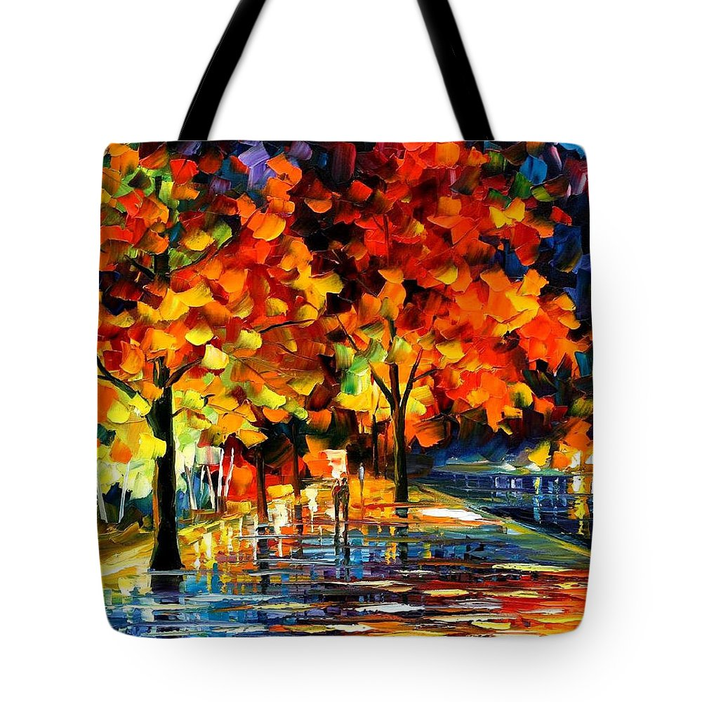 Oil Paintings Tote Bag featuring the painting Rivershore Park - Palette Knife Oil Painting On Canvas By Leonid Afremov by Leonid Afremov