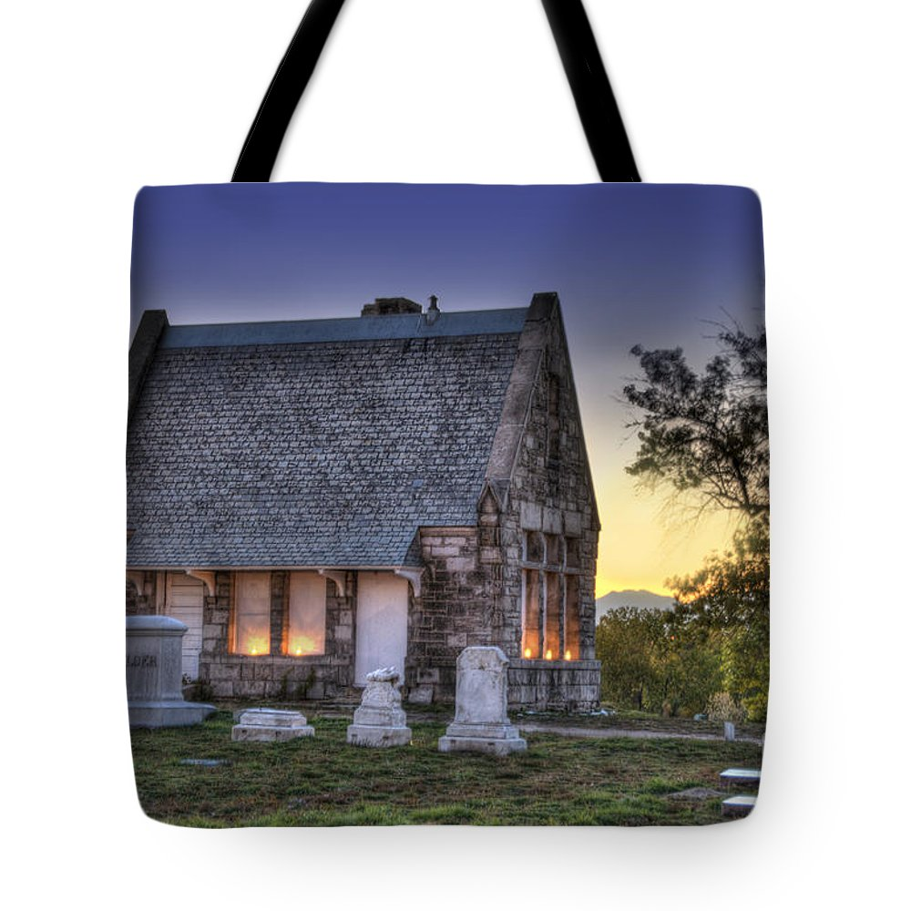 5201 Brighton Boulevard Tote Bag featuring the photograph Riverside Cemetery by Juli Scalzi
