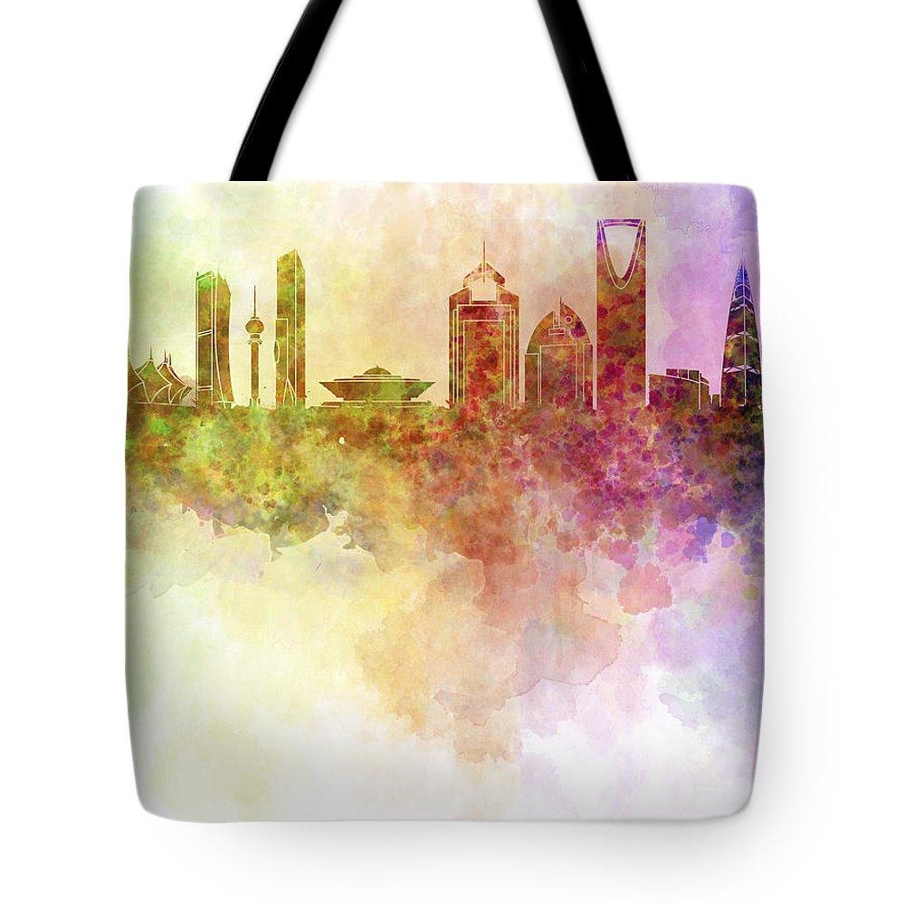 Riyadh Skyline Tote Bag featuring the digital art Riyadh Skyline In Watercolour Background by Pablo Romero