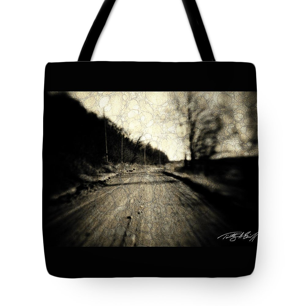 B&w Tote Bag featuring the photograph Road Of The Past by Timothy Bischoff