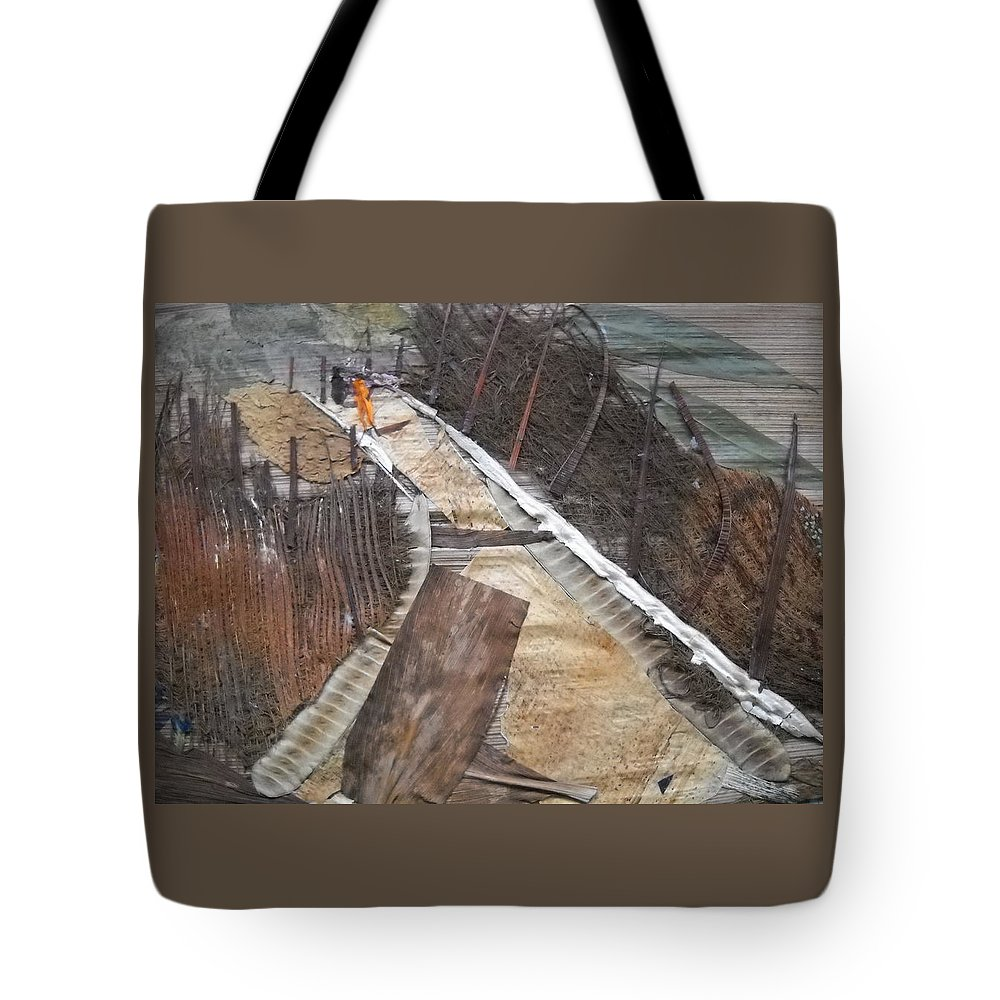 Cross Country Road Tote Bag featuring the mixed media Road With Dense Fencing by Basant Soni