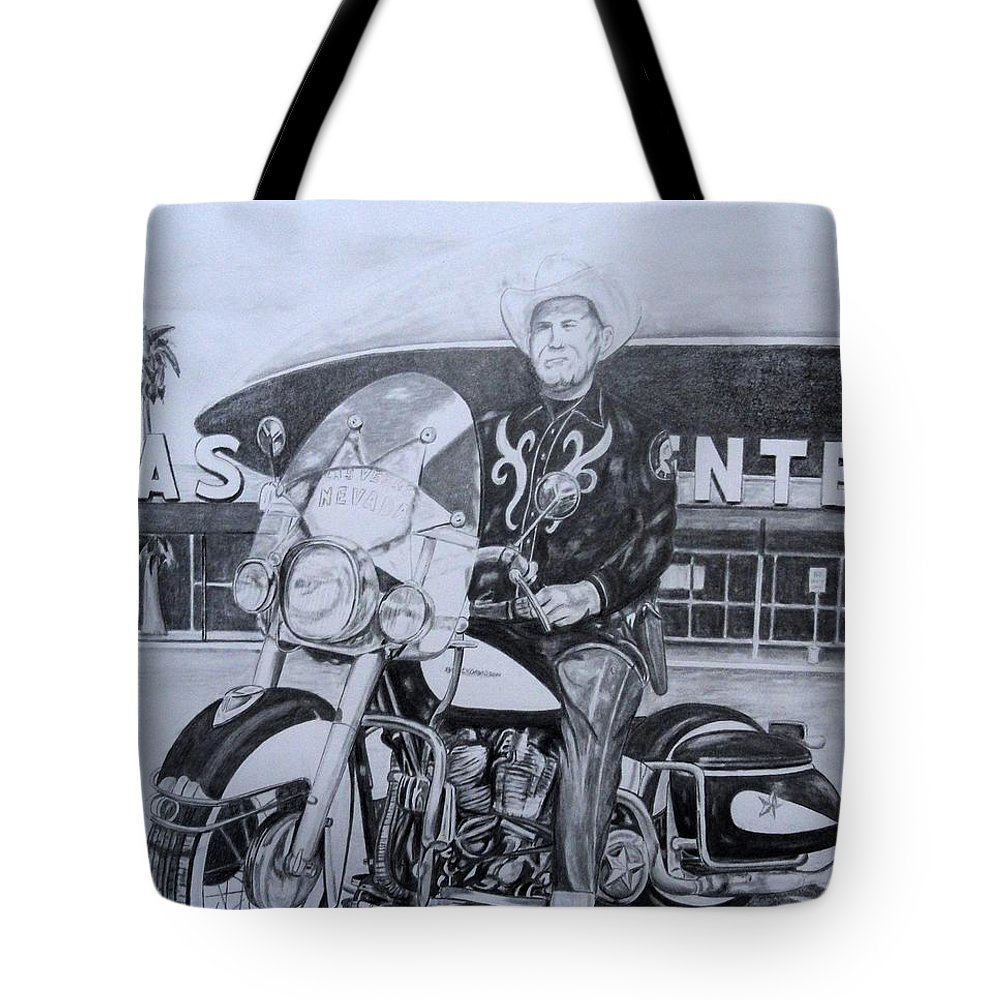 Las Vegas Tote Bag featuring the drawing Roadking Of Vegas by Charles Rogers