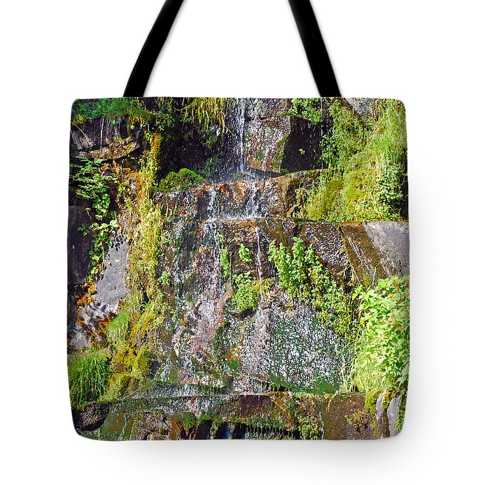Waterfall Tote Bag featuring the photograph Roadside Waterfall. Mount Rainier National Park by Connie Fox