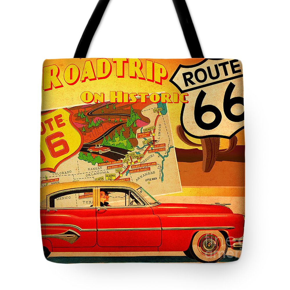 Vintage Tote Bag featuring the painting Roadtrip by Cinema Photography