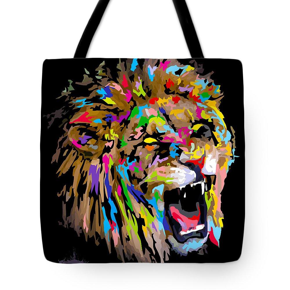Leo Tote Bag featuring the digital art Roar by Anthony Mwangi