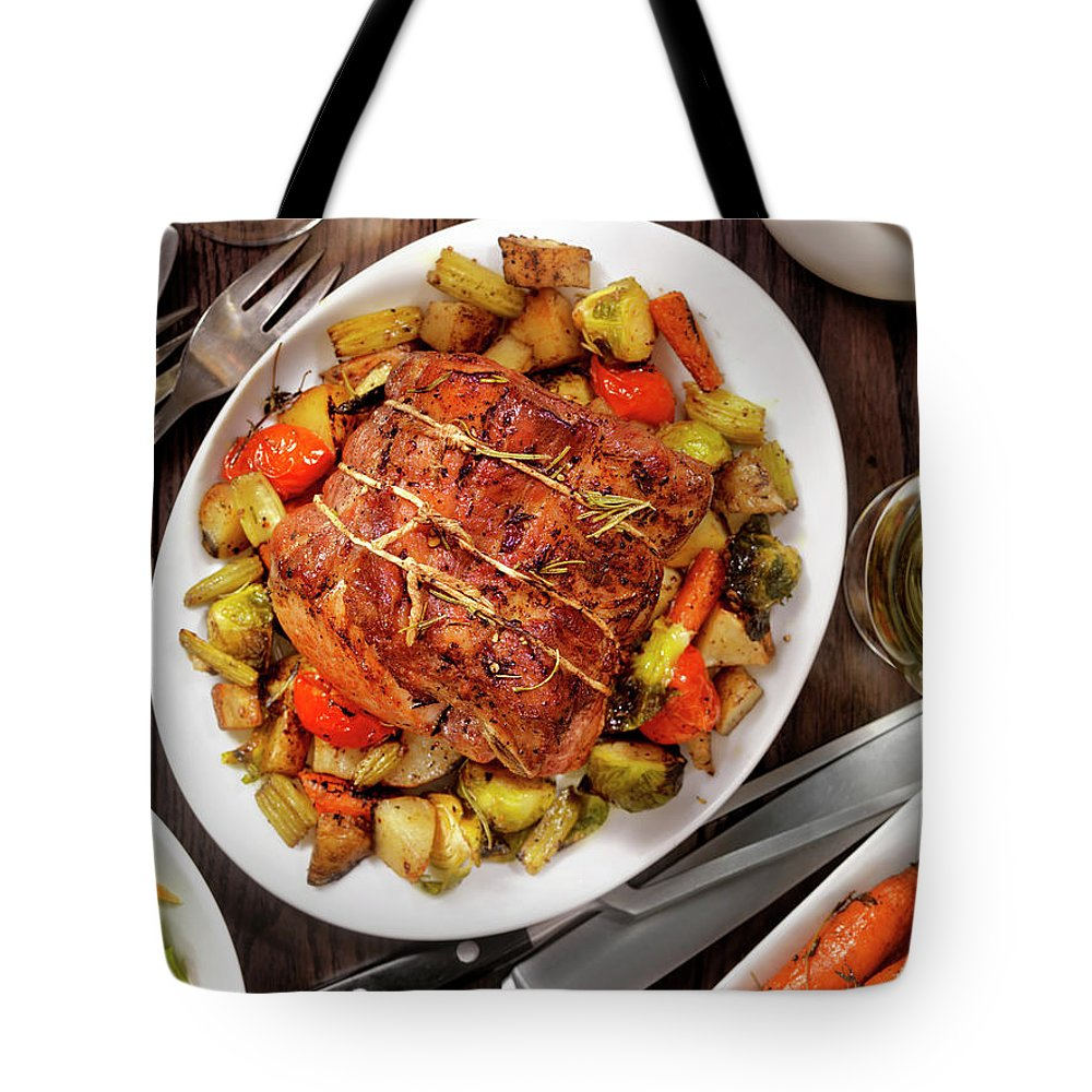 Gravy Tote Bag featuring the photograph Roasted Pork Loin Roast Dinner by Lauripatterson