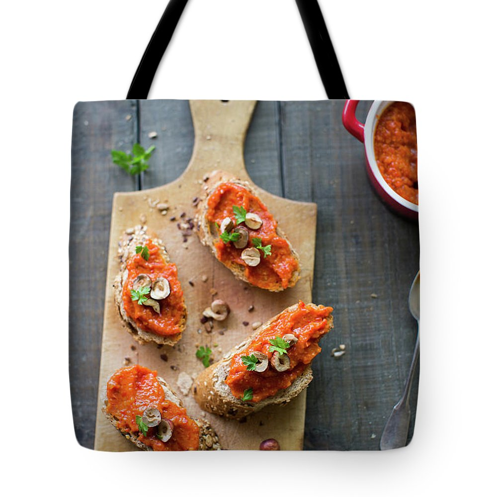 Italian Food Tote Bag featuring the photograph Roasted Vegetables Pesto by Ingwervanille