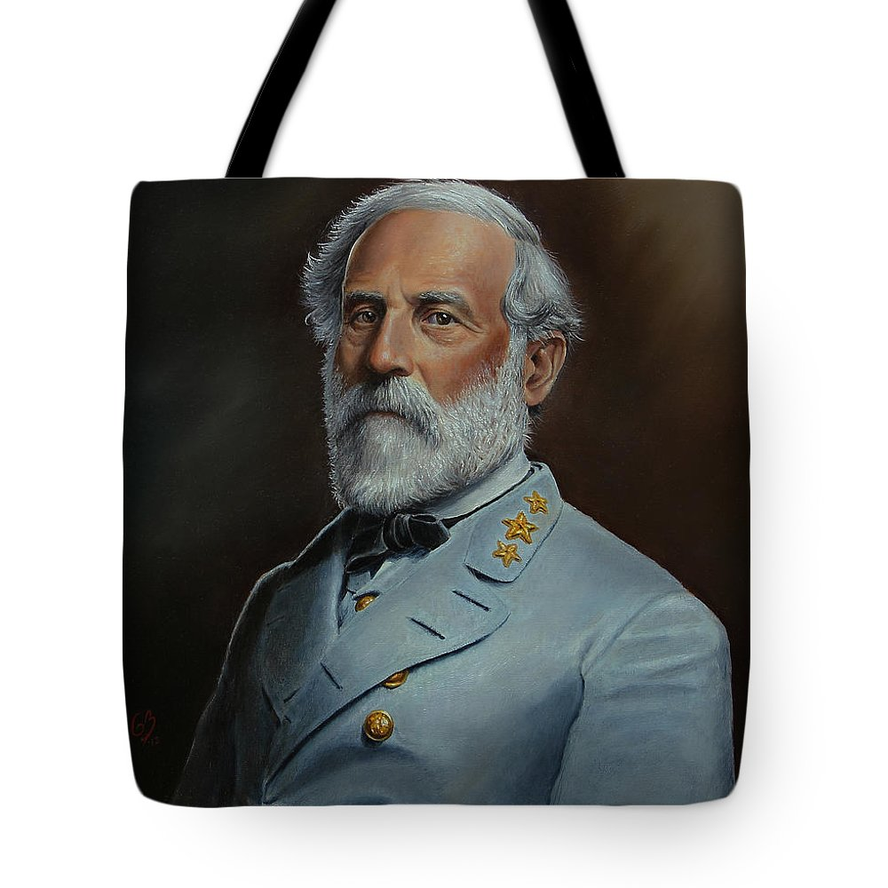 Portrait Tote Bag featuring the painting Robert E. Lee by Glenn Beasley