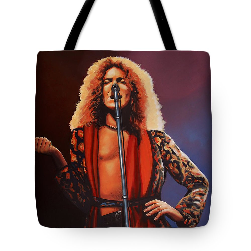 Robert Plant Tote Bag featuring the painting Robert Plant 2 by Paul Meijering