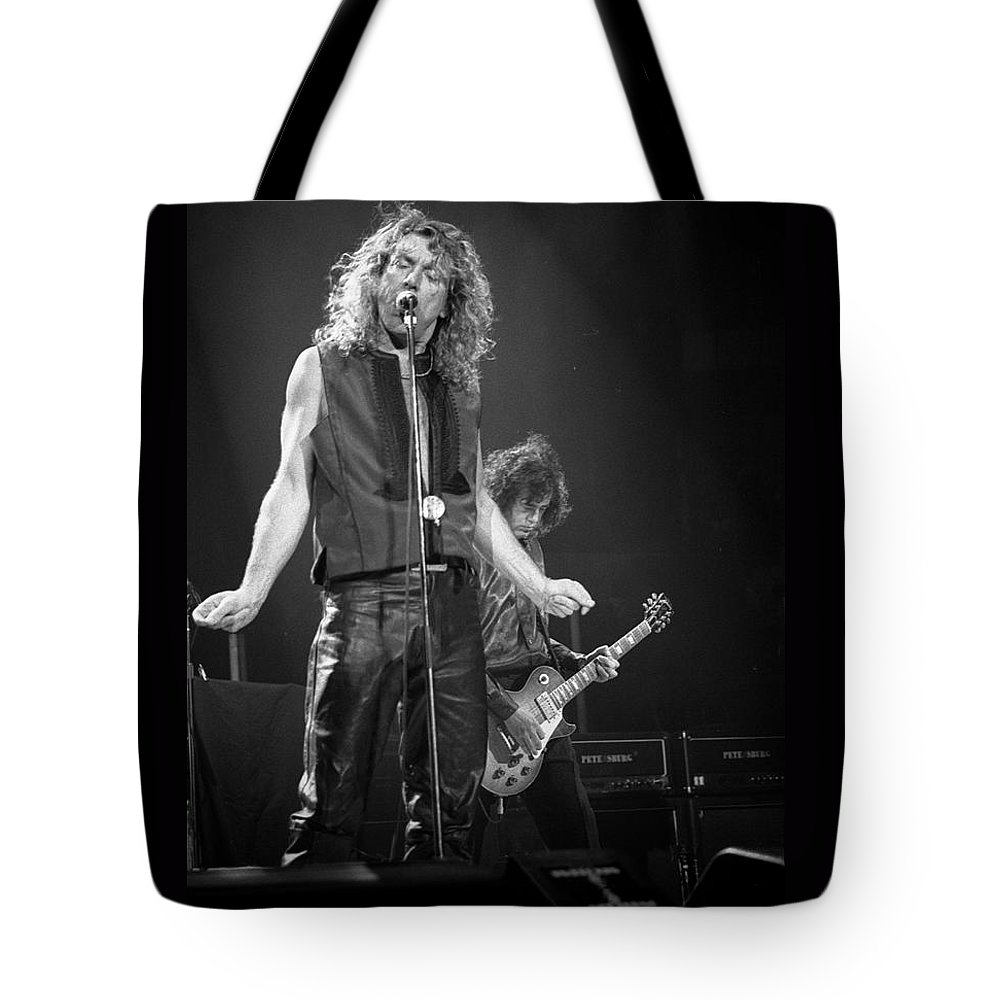 Robert Plant Tote Bag featuring the photograph Robert Plant And Jimmy Page by Timothy Bischoff