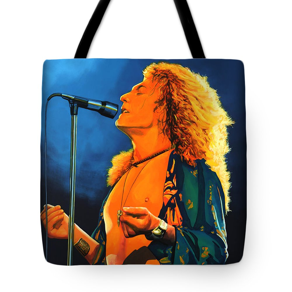 Robert Plant Tote Bag featuring the painting Robert Plant by Paul Meijering
