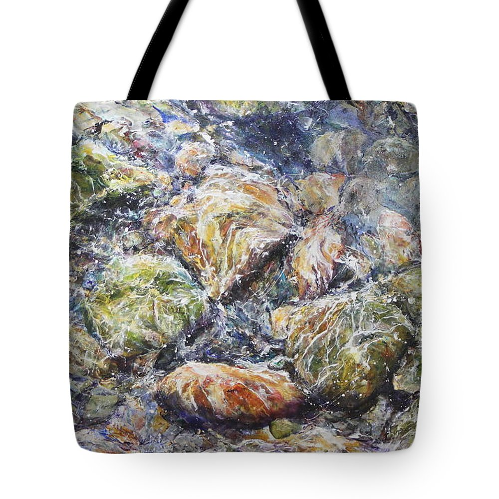 River Rocks Tote Bag featuring the painting Rocas Del Rio by Madeleine Arnett