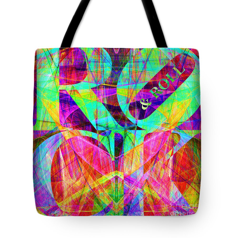 Abstract Tote Bag featuring the digital art Rock And Roll 20130708 Fractal by Wingsdomain Art and Photography