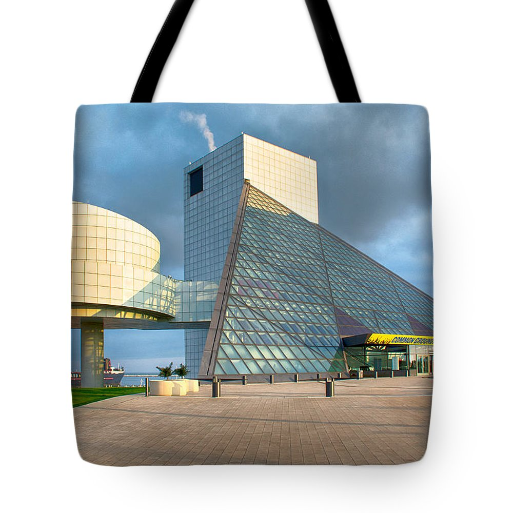 Buildings Tote Bag featuring the photograph Rock And Roll Is Here To Stay by Guy Whiteley
