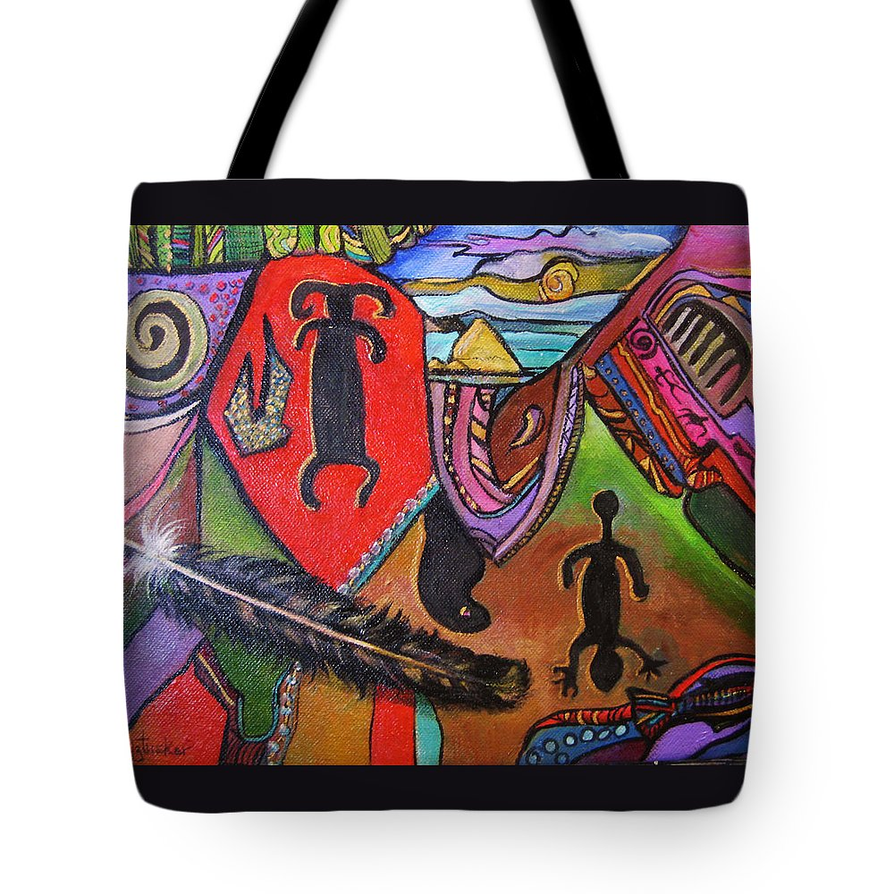 Abstract Tote Bag featuring the painting Rock Art Of Nevada by Donna Tucker