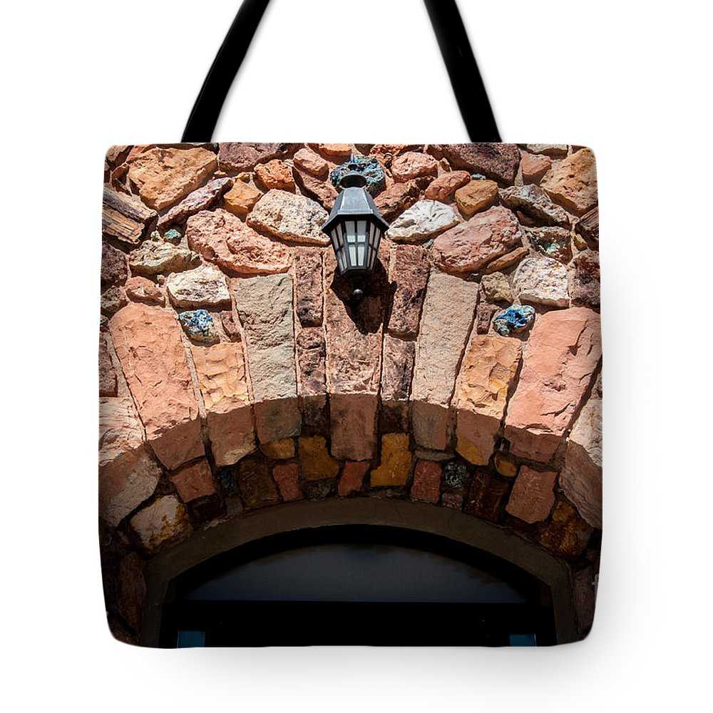 Archway Tote Bag featuring the photograph Rock Church Stone Archway - Cedar City - Utah by Gary Whitton