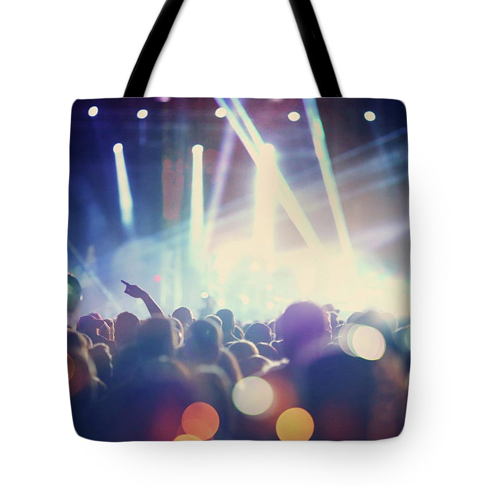 Event Tote Bag featuring the photograph Rock Concert by Gilaxia