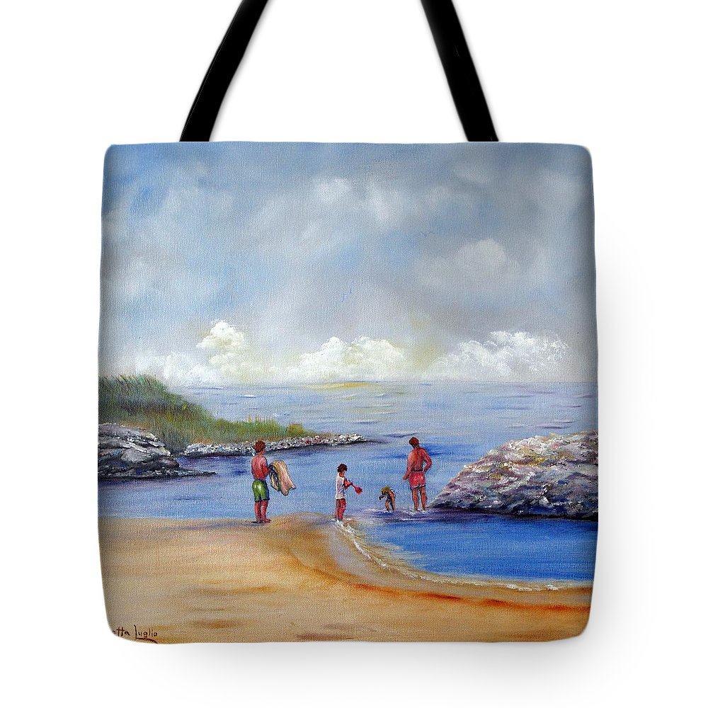 Rock Hall Tote Bag featuring the painting Rock Hall Beach by Loretta Luglio