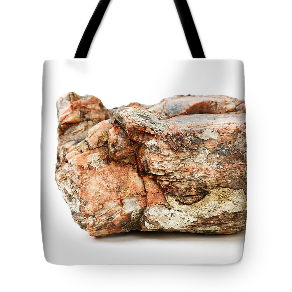 Rock Tote Bag featuring the photograph Rock Isolated On White by Donald Erickson