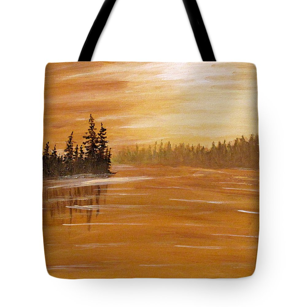 Northern Ontario Tote Bag featuring the painting Rock Lake Morning 1 by Ian MacDonald