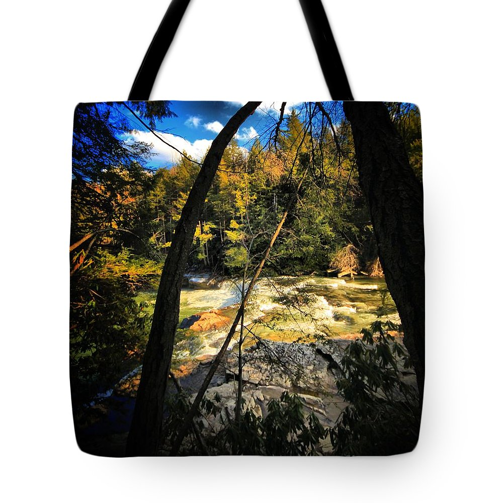 Waterfalls Tote Bag featuring the photograph Rock Slide by Robert McCubbin