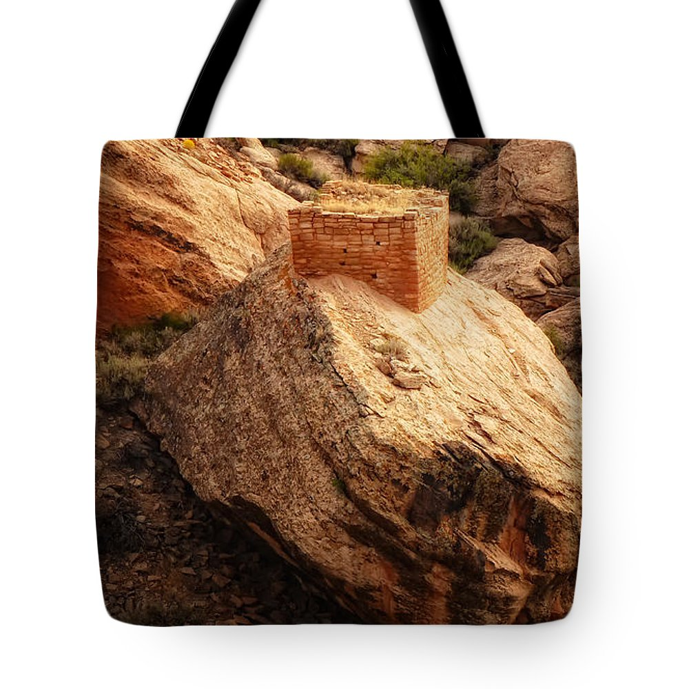 Sherry Day Tote Bag featuring the photograph Rock Tower by Ghostwinds Photography