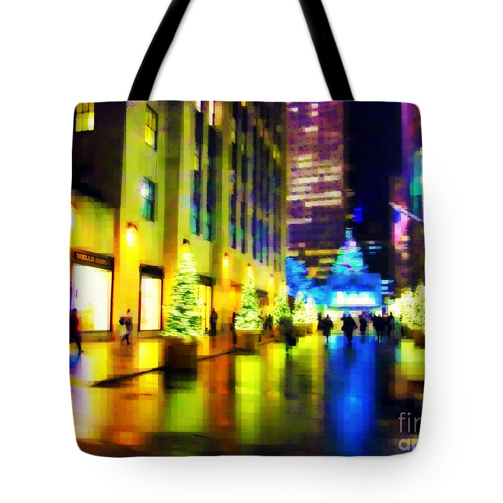 Rockefeller Center Tote Bag featuring the photograph Rockefeller Center Christmas Trees - Holiday And Christmas Card by Miriam Danar