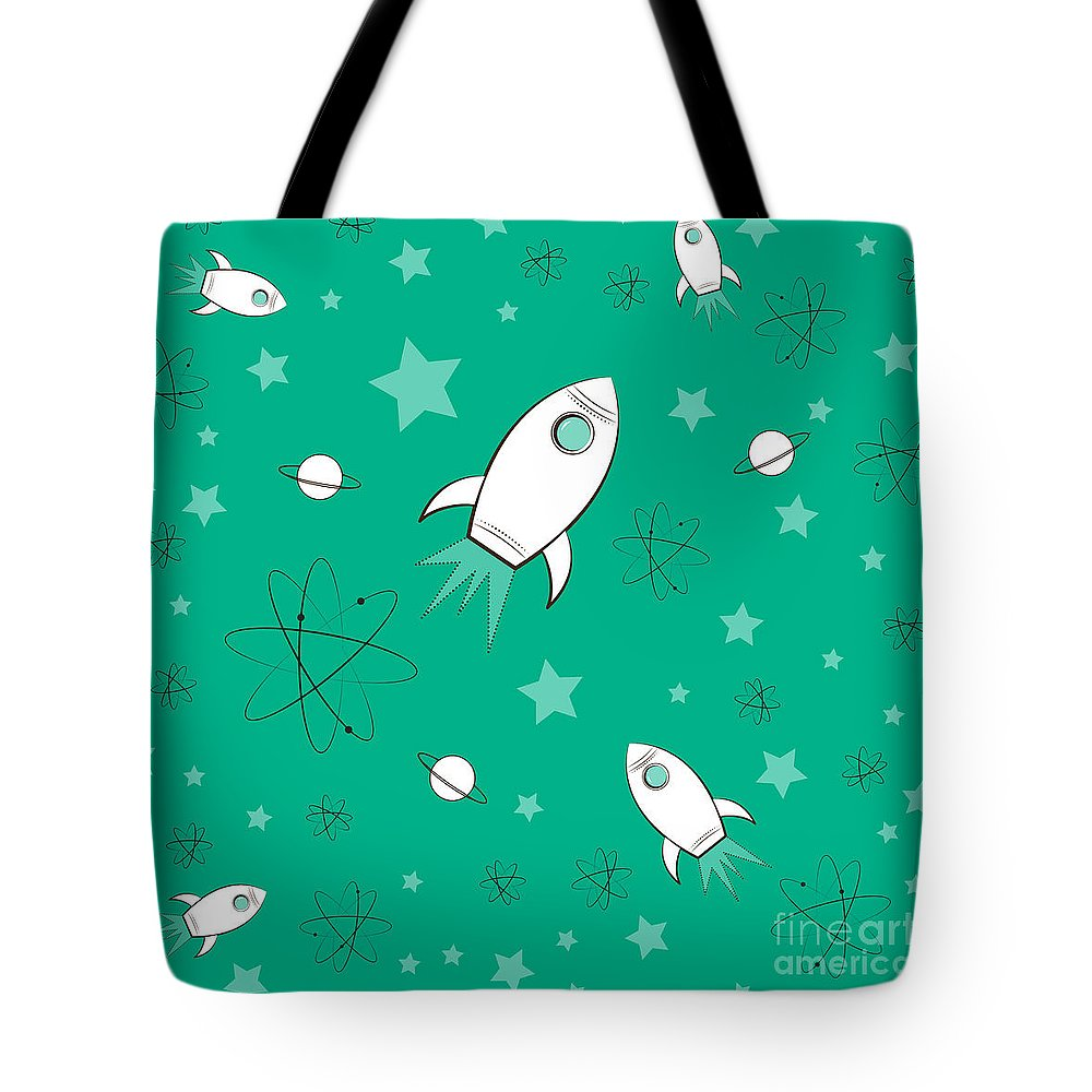 Rocket Tote Bag featuring the painting Rocket Science Green by Amy Kirkpatrick