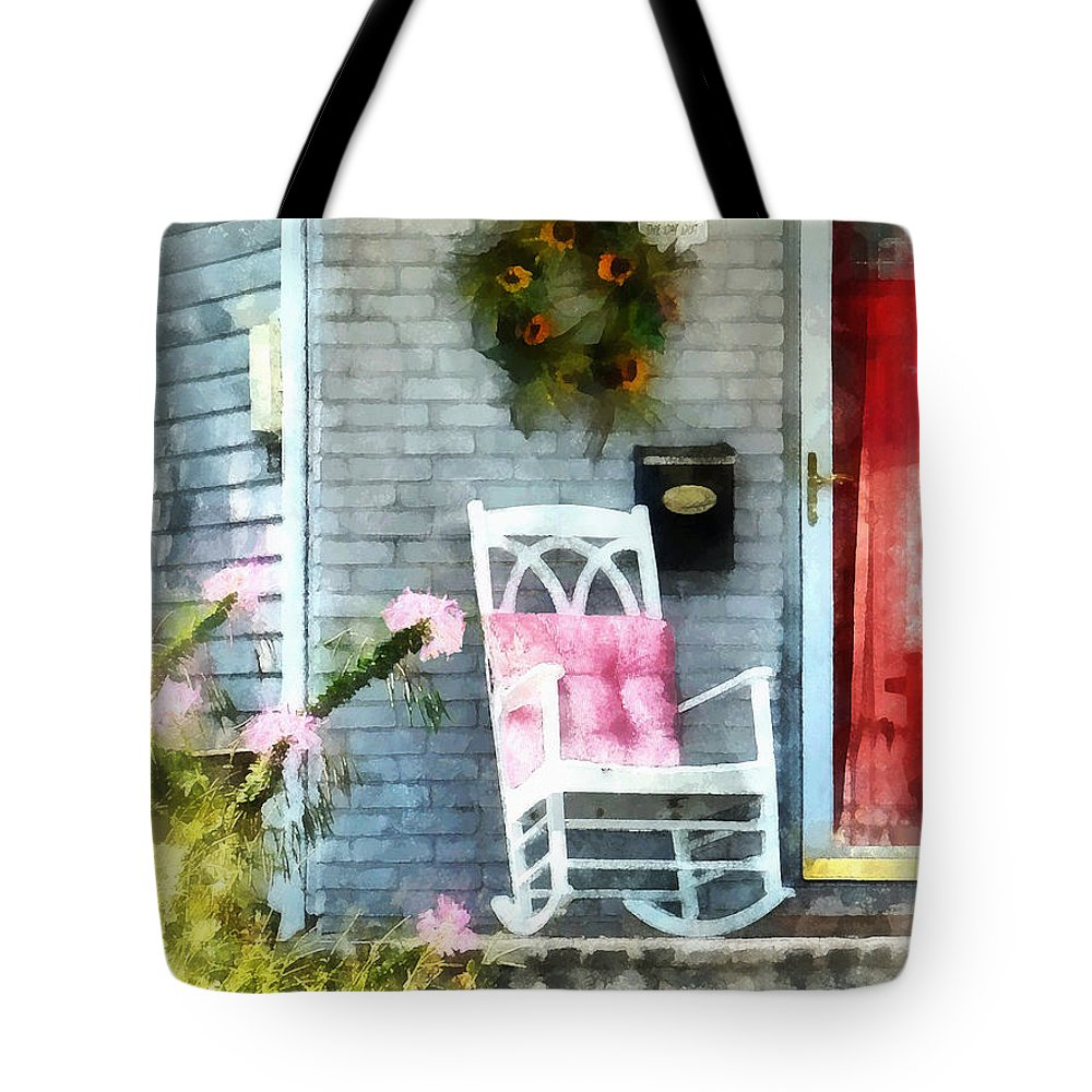 Rocking Chair Tote Bag featuring the photograph Rocking Chair With Pink Pillow by Susan Savad