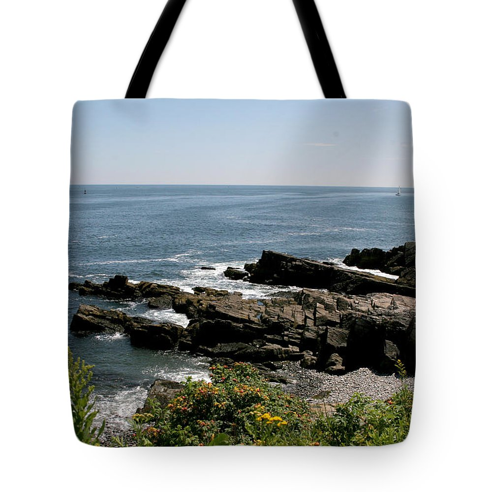 Maine Tote Bag featuring the photograph Rocks Below Portland Headlight Lighthouse 1 by Kathy Hutchins