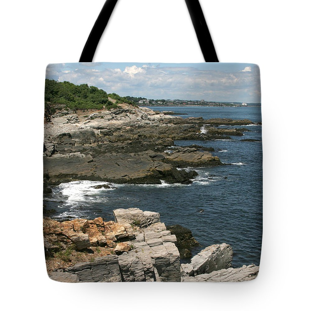 Maine Tote Bag featuring the photograph Rocks Below Portland Headlight Lighthouse 2 by Kathy Hutchins