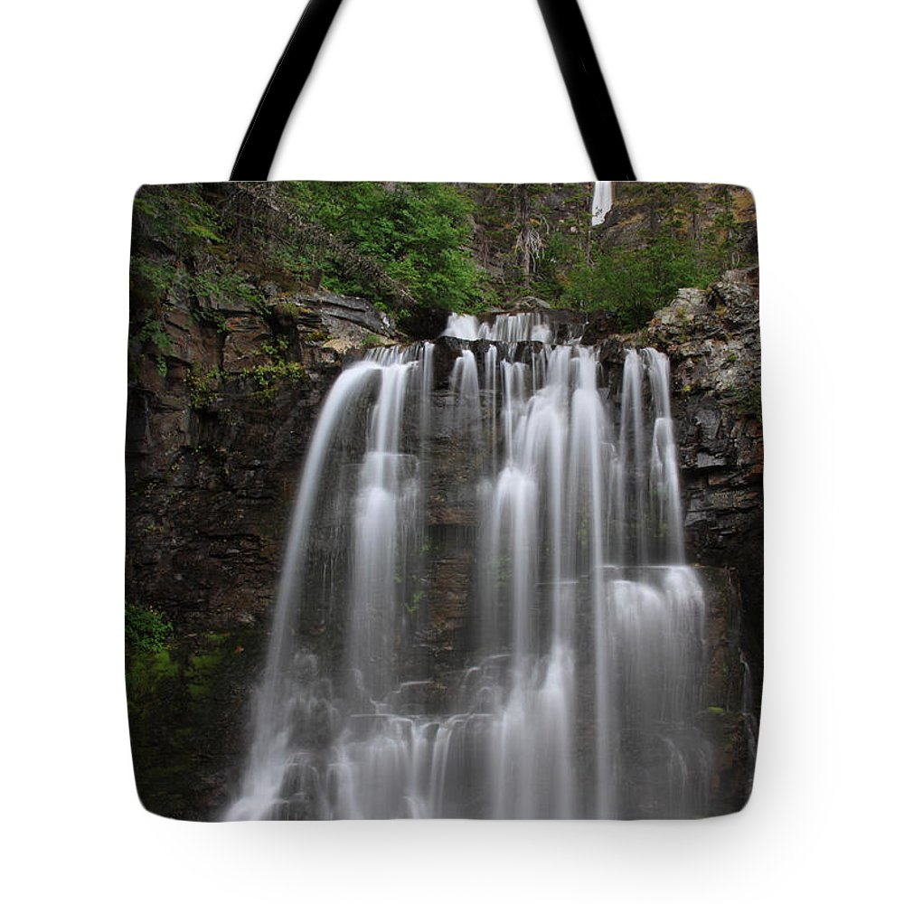 Rockwell Falls Tote Bag featuring the photograph Rockwell Falls Glacier National Park by Shari Jardina