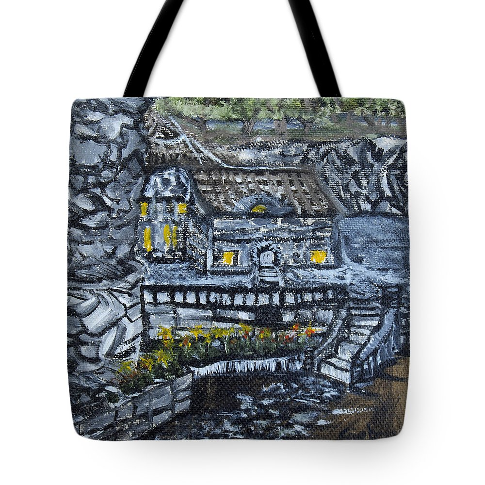 Rocks Tote Bag featuring the painting Rocky Cottage by Suzanne Surber
