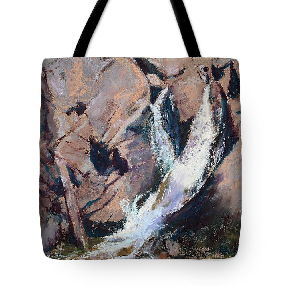 Waterfall Tote Bag featuring the painting Rocky Mountain Cascade by Mary Benke