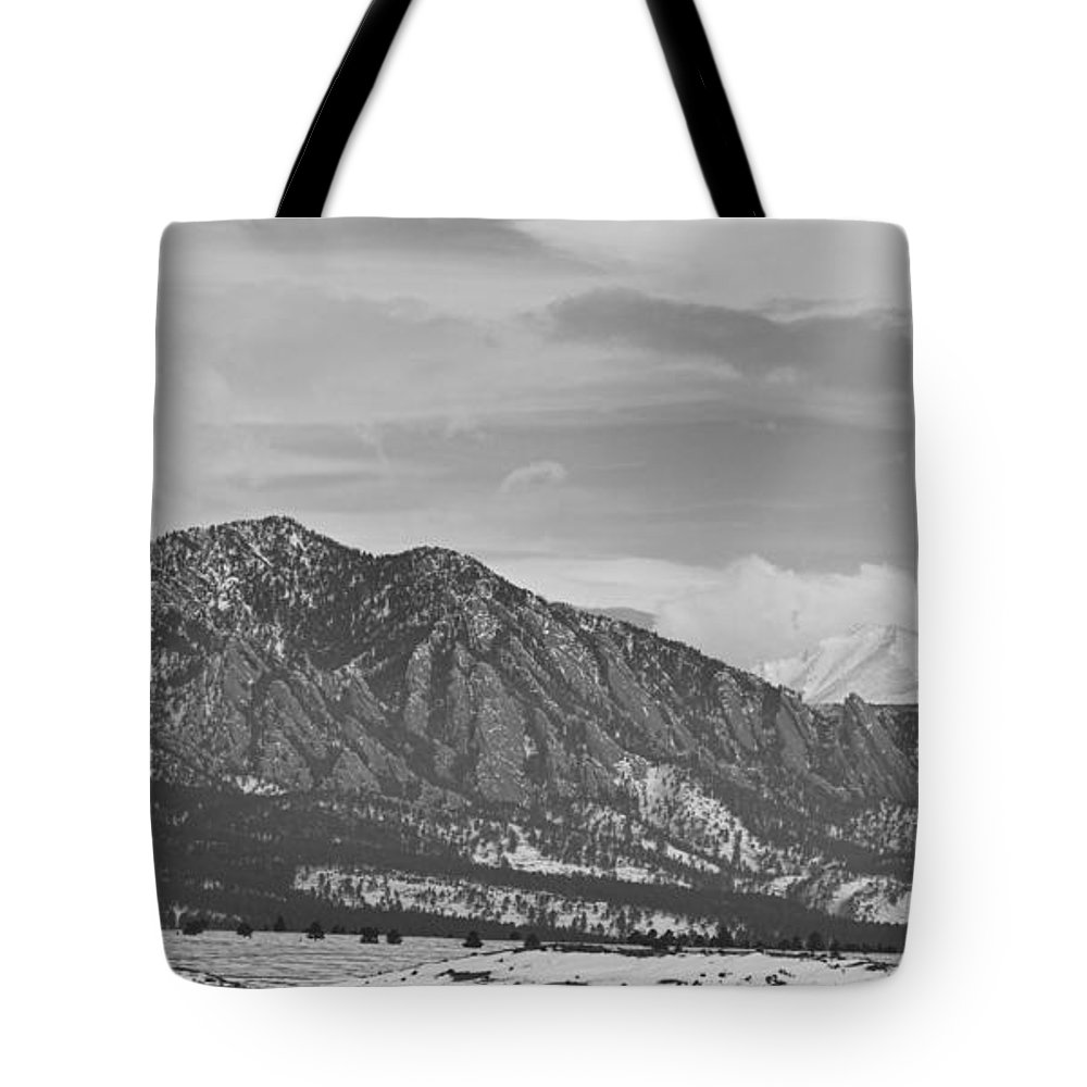 Rocky Mountains Tote Bag featuring the photograph Rocky Mountains Flatirons And Longs Peak Panorama 2 by James BO Insogna