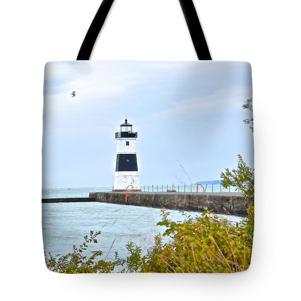 Cleveland Tote Bag featuring the photograph Rocky River Pier by Frozen in Time Fine Art Photography