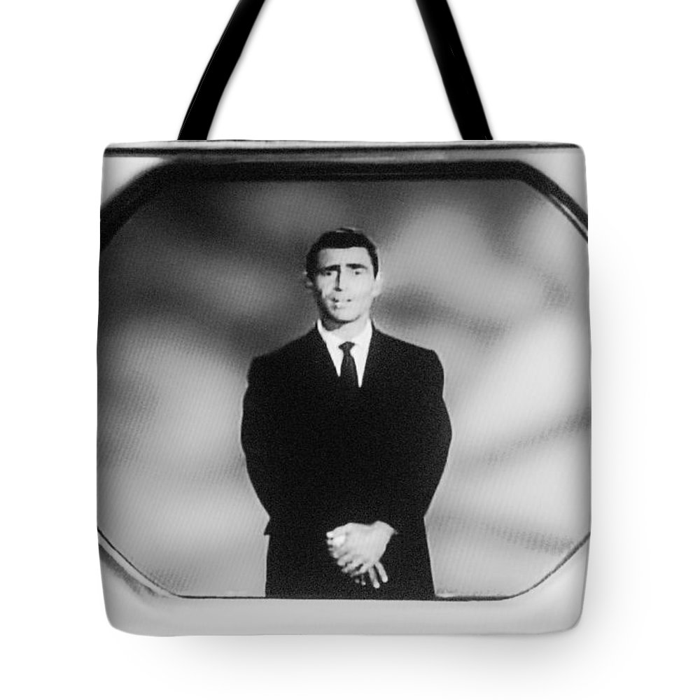 The Twilight Zone Tote Bag featuring the photograph Rod Serling On T V by Rob Hans