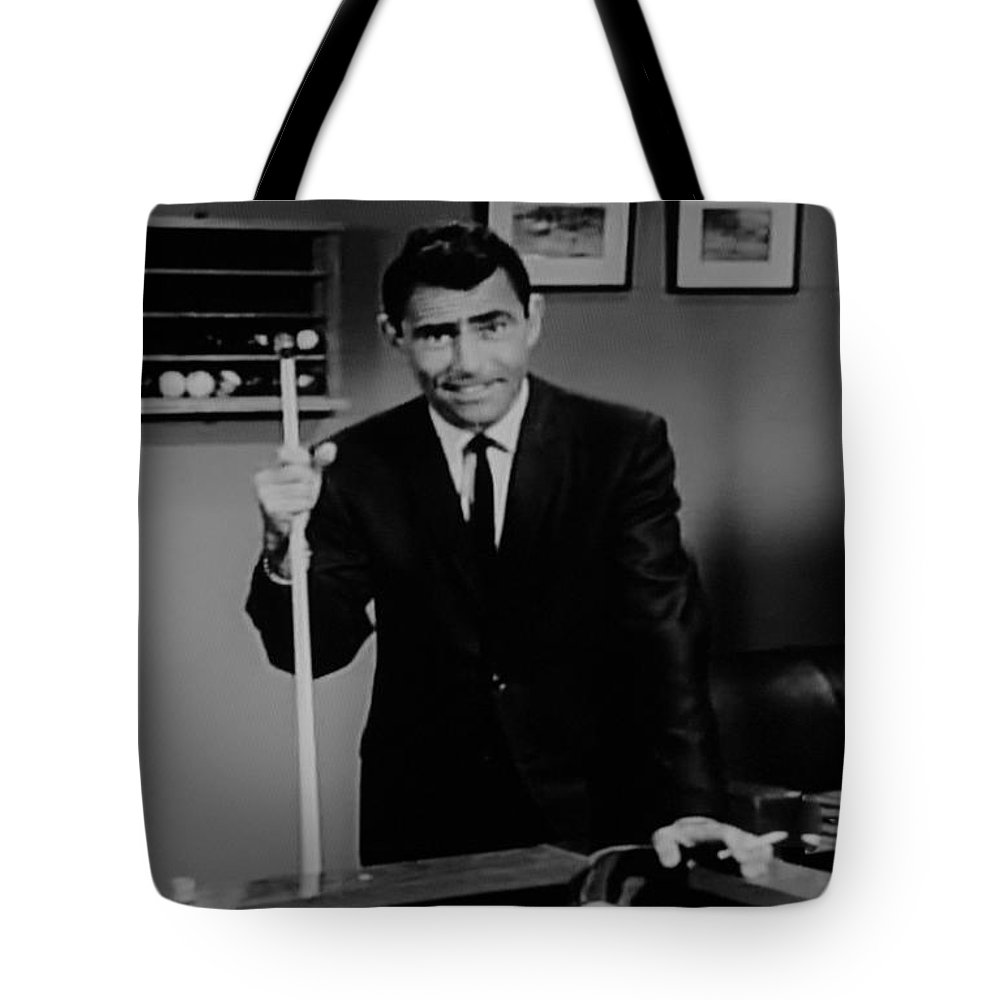 The Twilight Zone Tote Bag featuring the photograph Rod Serling by Rob Hans