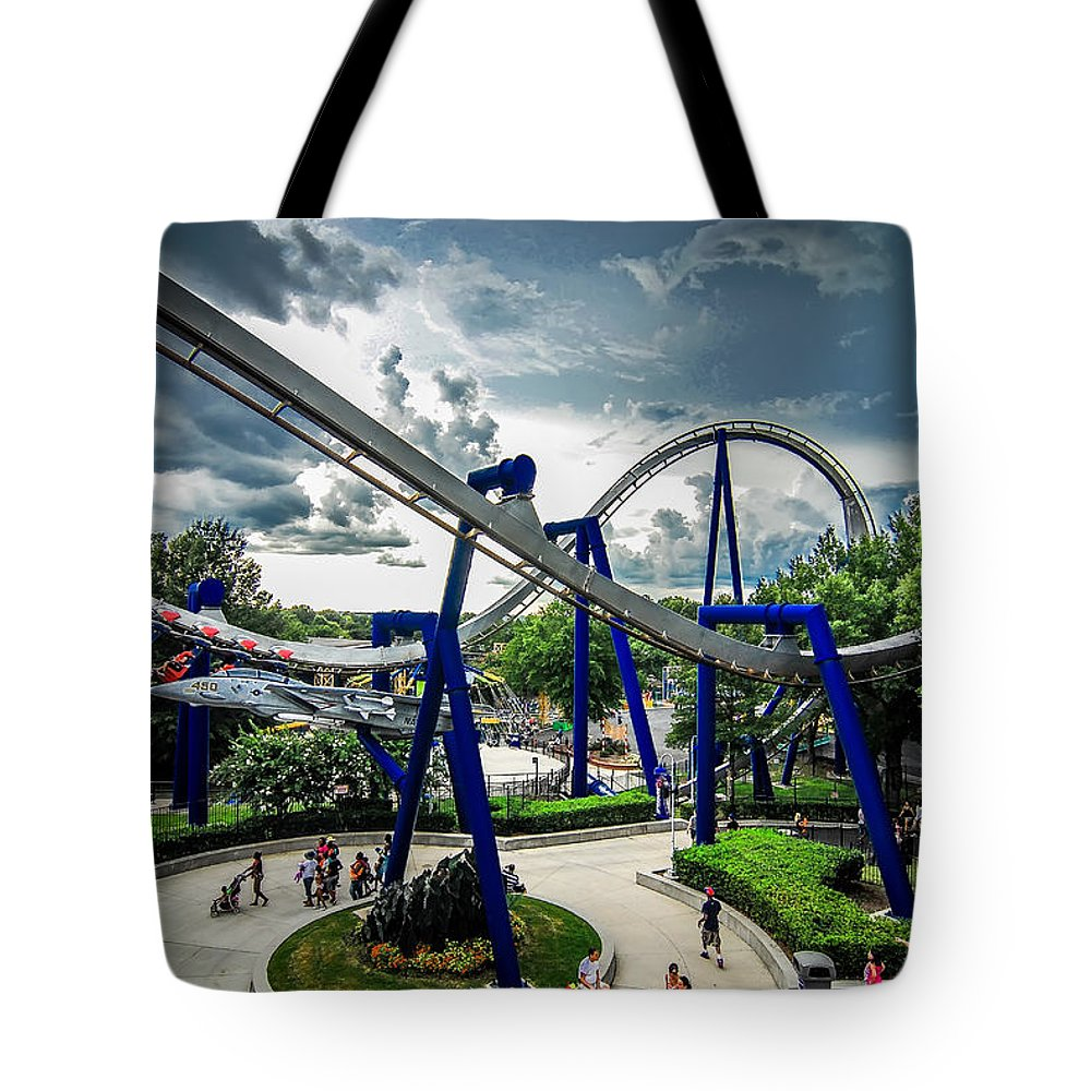 People Tote Bag featuring the photograph Rollercoaster Amusement Park Ride by Alex Grichenko