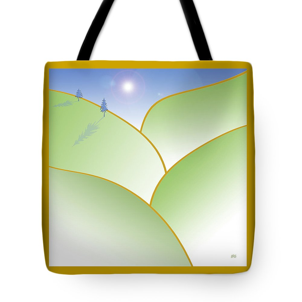 Minimalist Landscape Tote Bag featuring the digital art Rolling Hills - When The Skies Are Blue by Ben and Raisa Gertsberg
