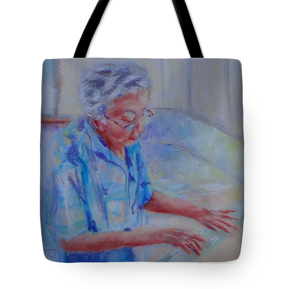 Dumplings Tote Bag featuring the painting Rolling Out Dumplings by Carol Berning