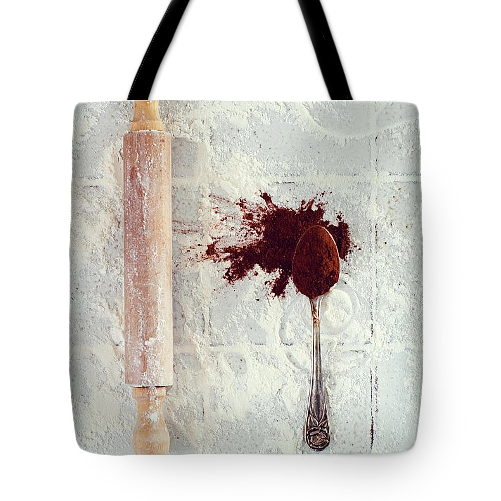 Rolling Pin Tote Bag featuring the photograph Rolling Pin, Teaspoon, Flour And Cocoa by One Girl In The Kitchen