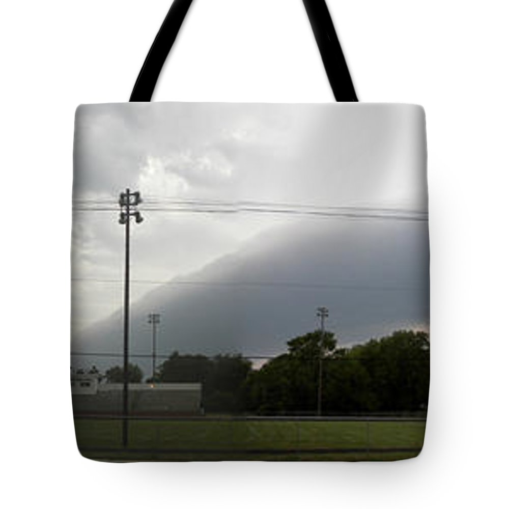 Trees Tote Bag featuring the photograph Rolling Storm by Thomas Woolworth