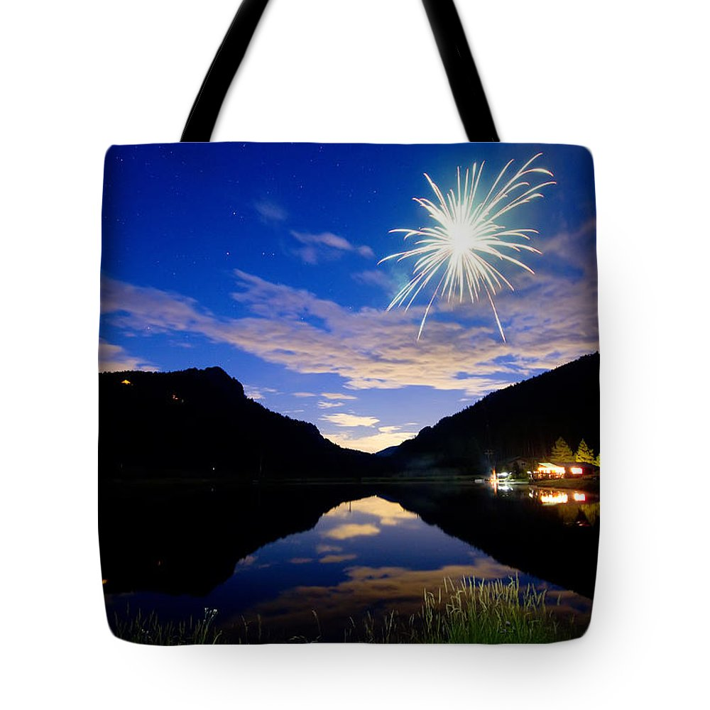 Fireworks; Firework; Reflections; Sky; Blue; Water; Cabin; Rustic; Rural; Rocky Mountains; Colorado Nature; Colorado Landscapes; Fine Art; Colorado Nature Landscape; James Bo Insogna; Photography Prints; Decorative; Decoration; Corporate Art; Gifts; For Sale; Tote Bag featuring the photograph Rollinsville Yacht Club Fireworks Private Show 52 by James BO Insogna