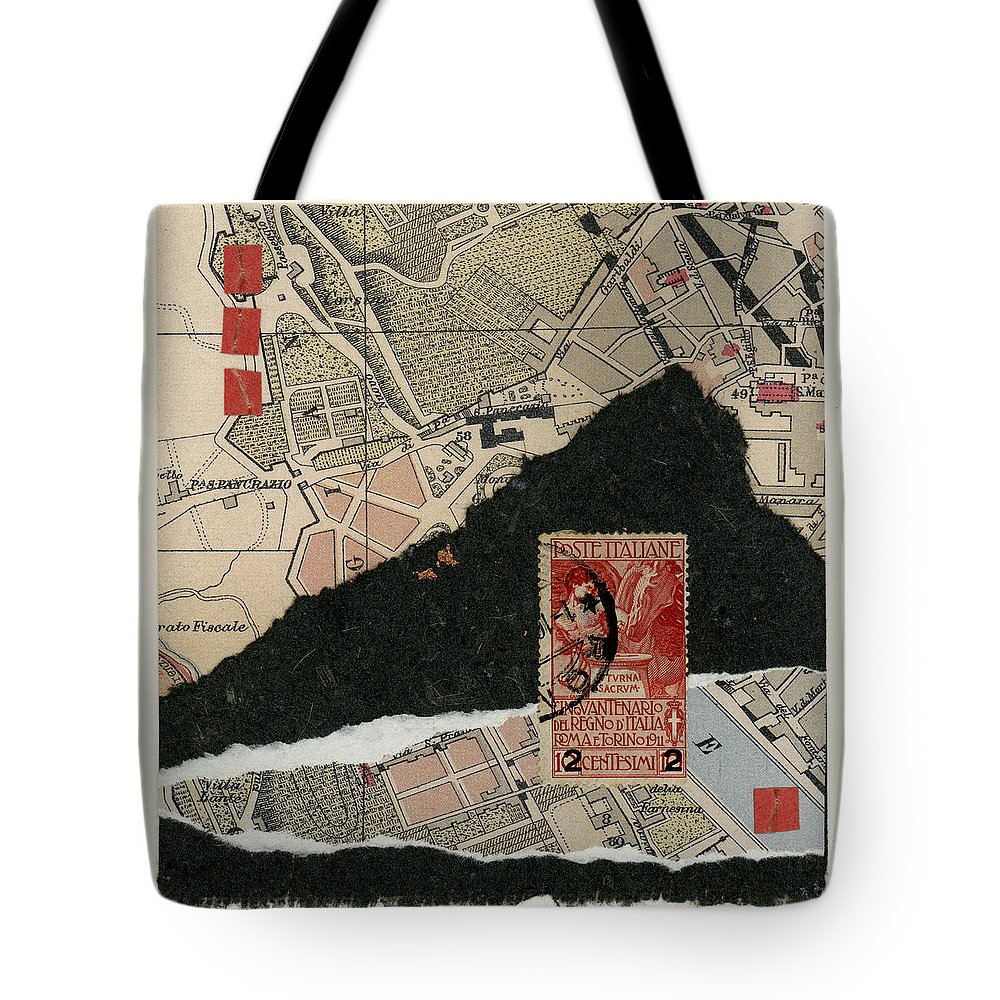Rome Tote Bag featuring the photograph Roman Map Collage by Carol Leigh