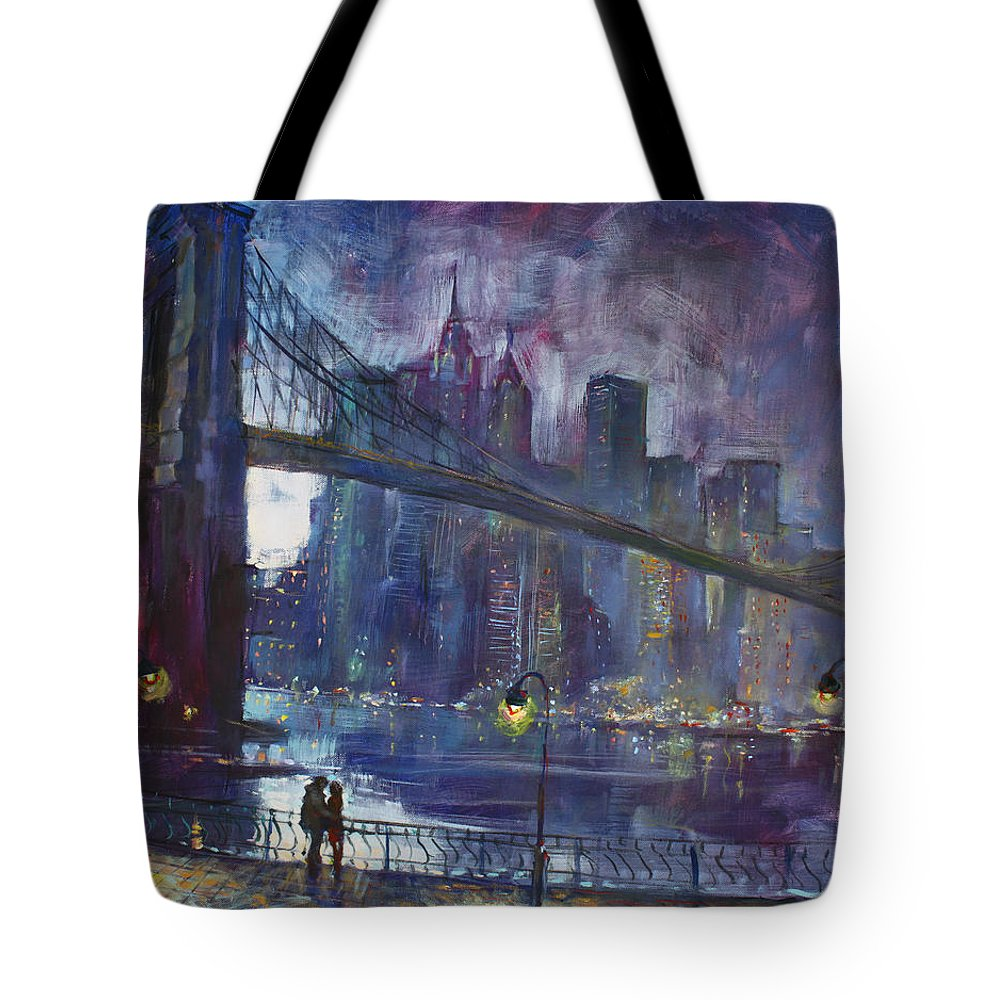 Brooklyn Bridge Tote Bag featuring the painting Romance by East River NYC by Ylli Haruni