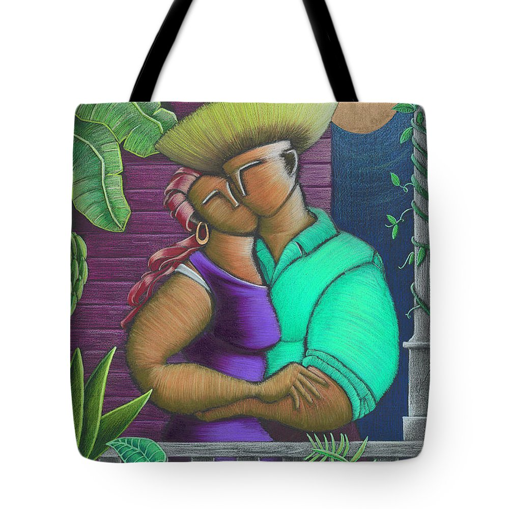 Puerto Rico Tote Bag featuring the painting Romance Jibaro by Oscar Ortiz