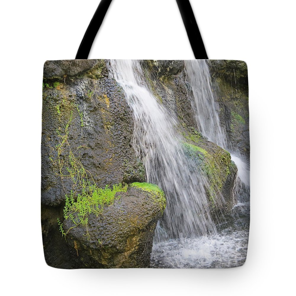Waterfall Tote Bag featuring the pyrography Romancing The Stone by Karen Winkfield