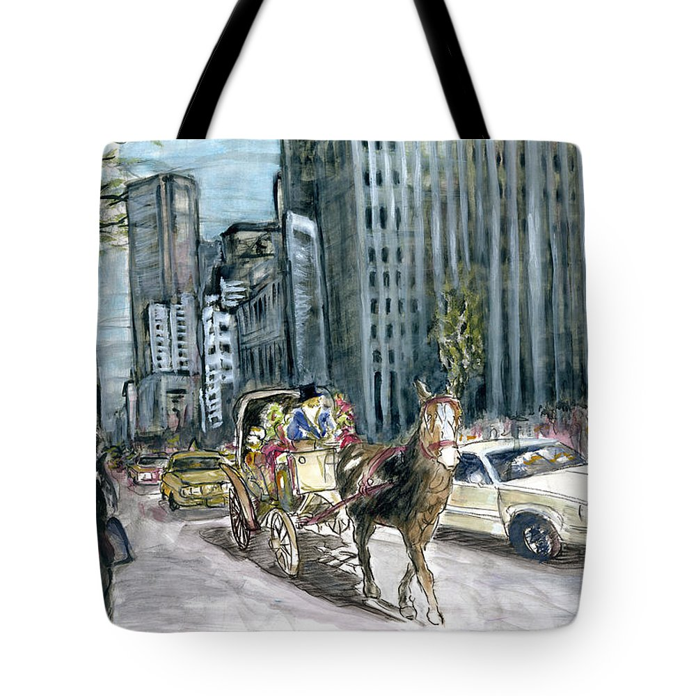 New+york Tote Bag featuring the painting New York 5th Avenue Ride - Fine Art by Peter Potter