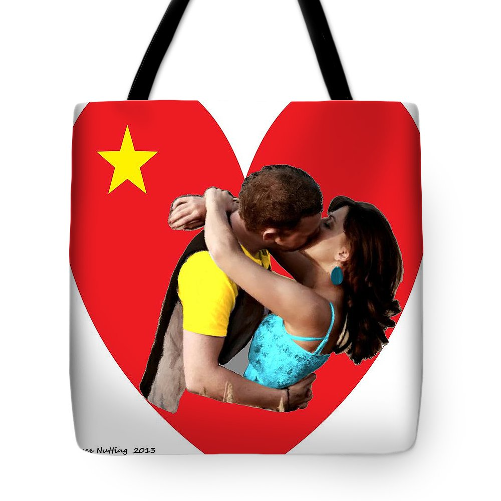 Kiss Tote Bag featuring the painting Romantic Kiss by Bruce Nutting